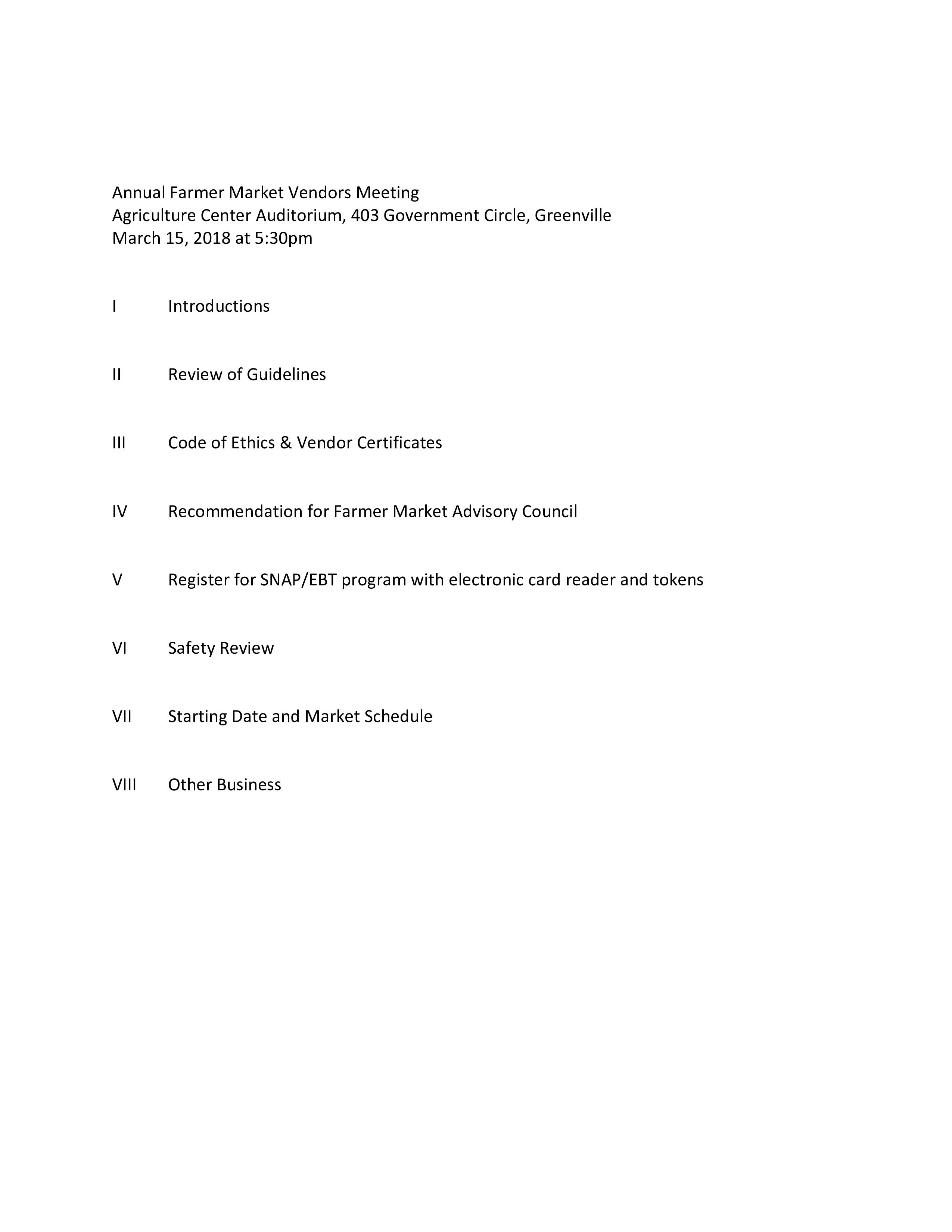 screenshot of vendor meeting agenda