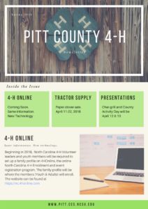 Cover photo for 4-H Spring 2018  Newsletter