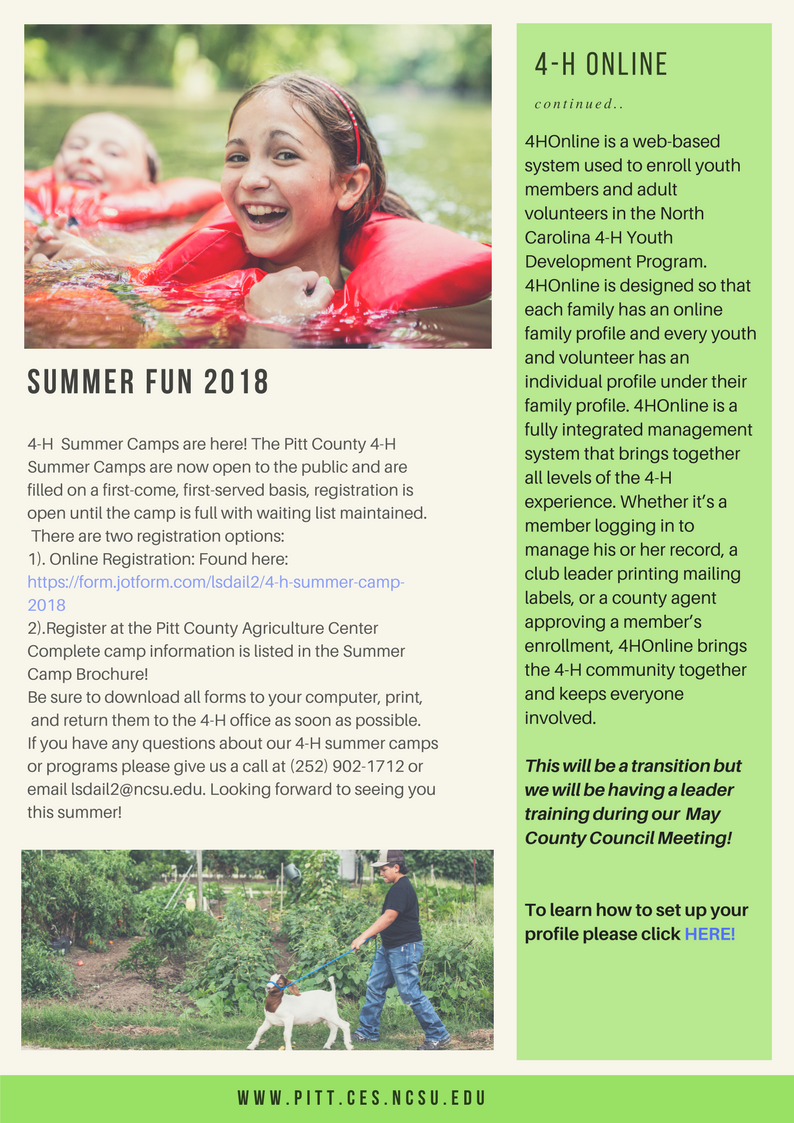 Pitt County 4-H newsletter