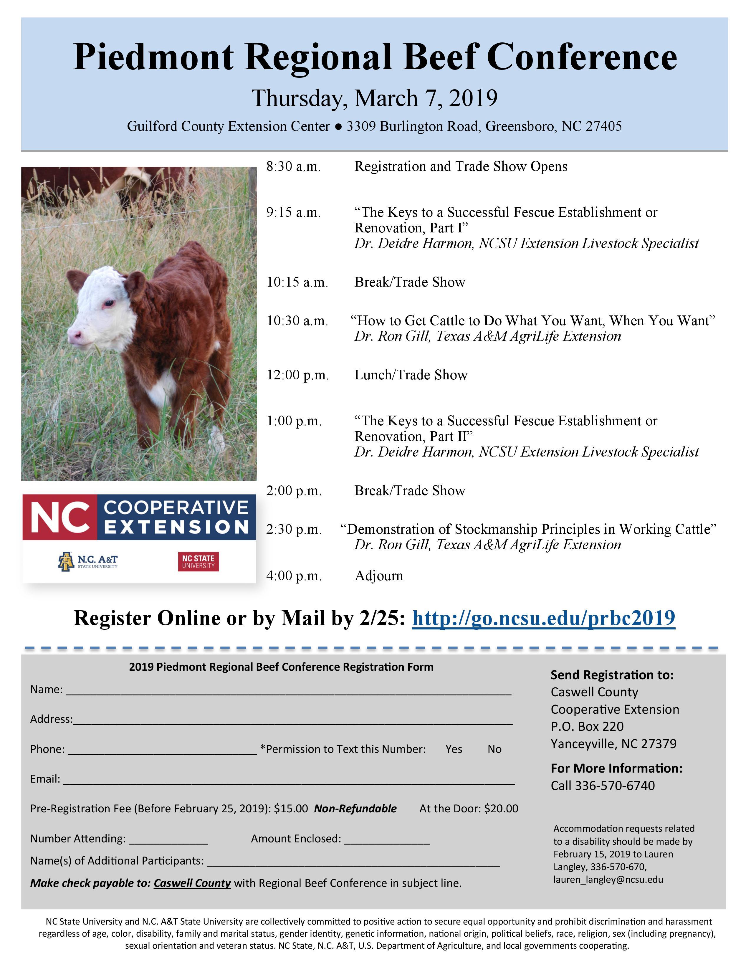 Piedmont Regional Beef Conference flyer image