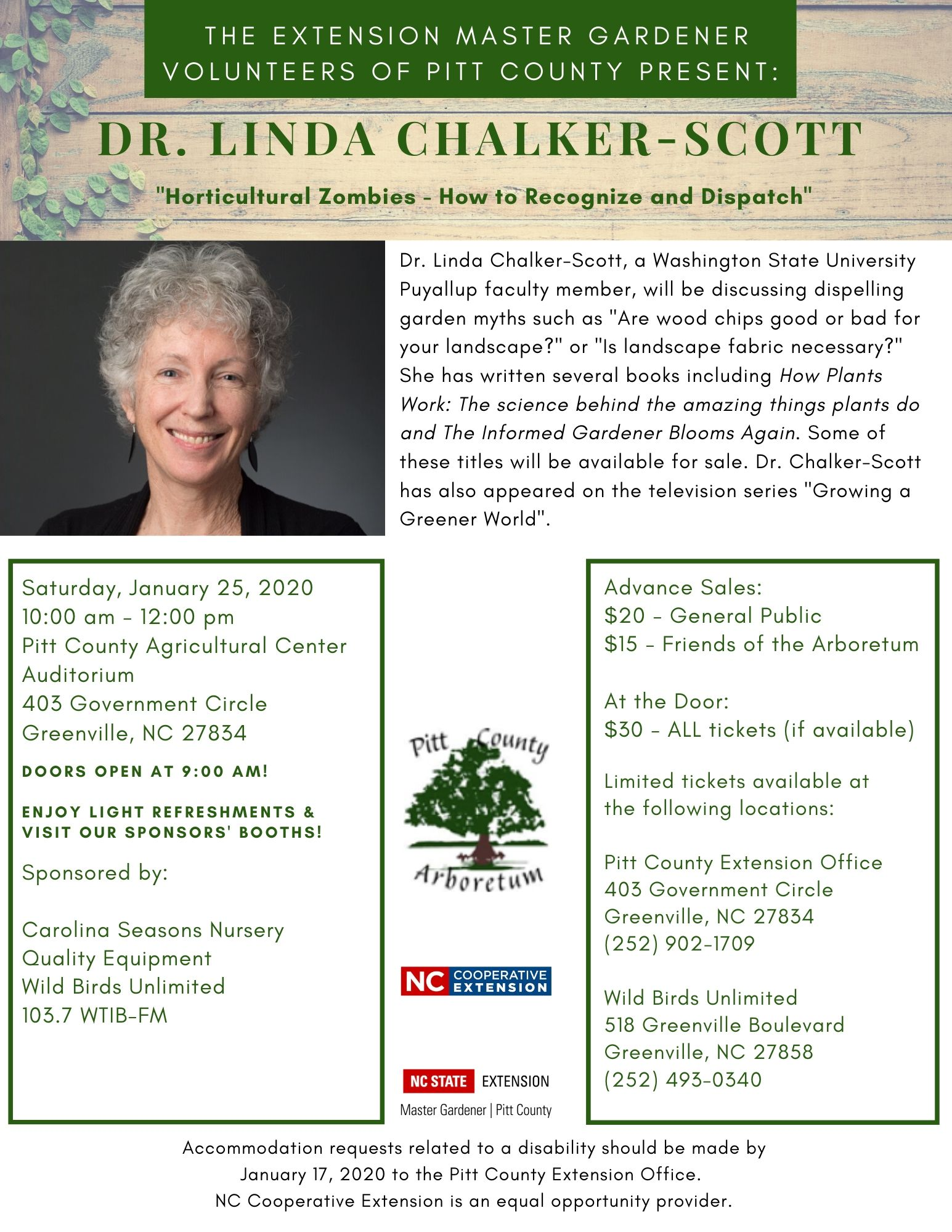 Winter Garden Seminar with Dr. Linda Chalker-Scott at Pitt County Arboretum