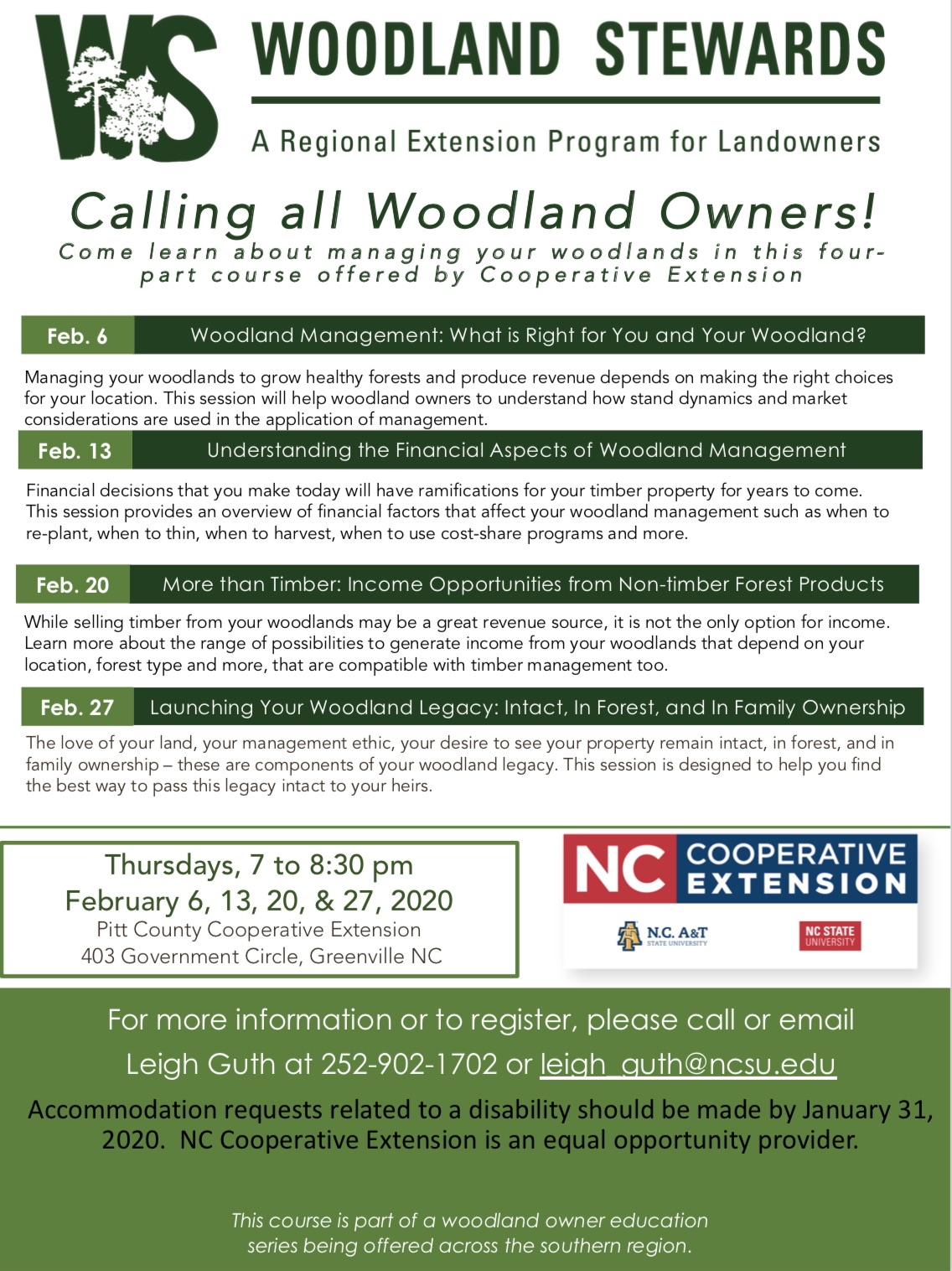 Woodlands Stewards Series flyer image
