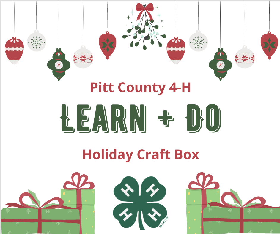Learn and Do Holiday Craft Box, holiday ornaments, gift boxes, and 4-H logo.